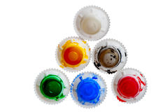Cap of tubes of acrylic paint Royalty Free Stock Images