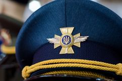 Kyiv, Ukraine - October 10, 2018: Cap of the Ukrainian army. International Exhibition ARMS AND SECURITY 2018. Cap of the Ukrainian army. International Exhibition stock image