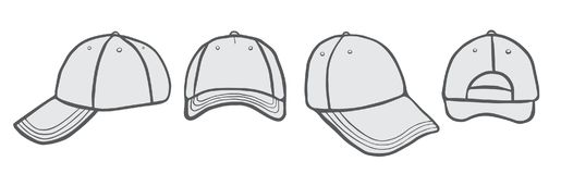Cap Vector Template. Blank Cap different points of view With Space For Your Design vector illustration