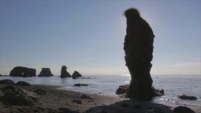 Cap Velikan, sculpture géante en pierre en nature, île Russie de Sakhaline banque de vidéos