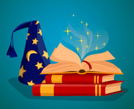 Cap wizard and Book of magic spells Royalty Free Stock Photos
