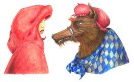 Capa con capucha roja y el mún lobo grande Imágenes de archivo libres de regalías