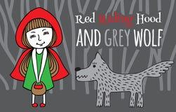 Capa con capucha y Grey Wolf rojos ilustración del vector