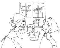 Capa con capucha y mamá rojas que colorean ilustración del vector