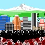 Capa da montagem de Portland Oregon com cores ilustração stock