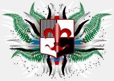 Capa de brazos con un lirio rojo. Bandera. Ilustración Fotos de archivo libres de regalías