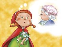 Capa de equitação e avó vermelhas ilustração stock