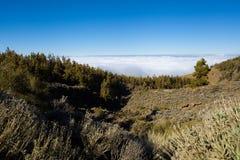 Capa de nubes Parque nacional Teide El ir de excursión en el volcán Fotos de archivo