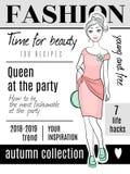 Capa de revista da forma Mulher bonito nova elegante de Vogue que levanta o molde do projeto do vetor ilustração stock