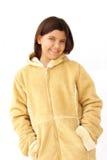Capa del invierno de la muchacha que se divierte Imagen de archivo libre de regalías