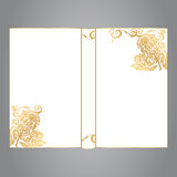 A capa do livro é branca com ornamento do ouro em um fone cinzento imagem de stock