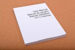 Capa do livro manual do usuário com as línguas múltiplas Imagem de Stock