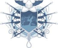 Capa heráldica de la mafia del brazo con la ametralladora Imagenes de archivo