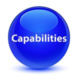 Capabilities glassy blue round button. Capabilities isolated on glassy blue round button abstract illustration Royalty Free Stock Image