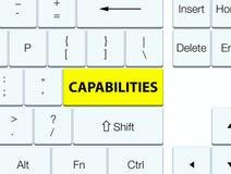 Capabilities yellow keyboard button. Capabilities isolated on yellow keyboard button abstract illustration royalty free illustration