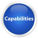 Capabilities premium blue round button. Capabilities isolated on premium blue round button abstract illustration Stock Image