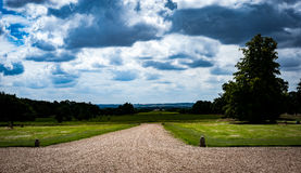 Capability Browne Landscape. Classical English Capability Browne landscape with summer sky stock photography