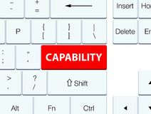 Capability red keyboard button. Capability isolated on red keyboard button abstract illustration Stock Photos
