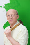 Capable elderly man doing home renovations Royalty Free Stock Photo
