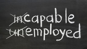 Capable, employed. Change your way of thinking to be employed concept handwritten on the school blackboard stock photos