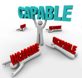 Capable Person Lifts Word - Others Crushed by Rejection Royalty Free Stock Images