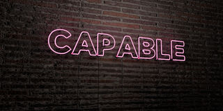CAPABLE -Realistic Neon Sign on Brick Wall background - 3D rendered royalty free stock image. Can be used for online banner ads and direct mailers stock illustration