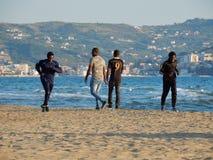 Capaccio - Jogging on the beach stock image
