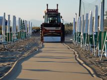 Capaccio - Tractor for the beach royalty free stock image