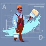 Capacete afro-americano de Wearing Uniform And do construtor do decorador de Hold Paint Brush do pintor dos desenhos animados ilustração royalty free