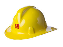 Capacete amarelo do bombeiro Fotografia de Stock