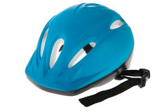 Capacete azul da bicicleta Imagem de Stock