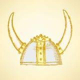 Capacete bonito de viquingue do esboço ilustração do vetor