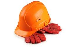 Capacete da construção e luvas protetoras Fotografia de Stock