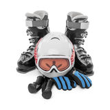 Capacete das luvas das botas de esqui isolado Fotos de Stock
