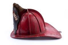 Capacete de couro antigo do incêndio Fotografia de Stock