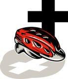 Capacete de ruído elétrico de ciclagem com cruz Imagem de Stock Royalty Free