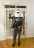 Capacete desgastando do homem com antennas_1 Imagens de Stock Royalty Free