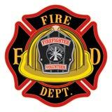 Capacete do amarelo do voluntário da cruz do departamento dos bombeiros ilustração royalty free