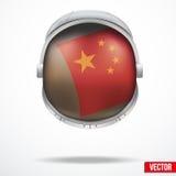 Capacete do astronauta com bandeira China ilustração do vetor