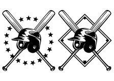 Capacete do basebol e bastões cruzados Fotografia de Stock Royalty Free