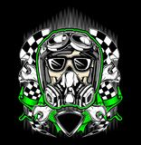 Capacete do crânio que compete com máscara de gás ilustração stock