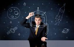 Capacete do desenho da pessoa das vendas e foguete de espaço Imagem de Stock Royalty Free