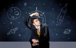 Capacete do desenho da pessoa das vendas e foguete de espaço Foto de Stock Royalty Free
