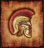 Capacete do guerreiro de Hopite no pergaminho Fotos de Stock Royalty Free
