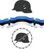 Capacete e bandeira estônios do wsw Fotos de Stock Royalty Free