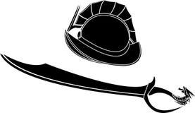 Capacete e espada dos gladiadores da fantasia Imagem de Stock Royalty Free