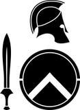 Capacete, espada e protetor de Spartans Fotos de Stock Royalty Free