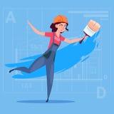 Capacete fêmea de Wearing Uniform And do construtor do decorador de Hold Paint Brush do pintor dos desenhos animados ilustração stock