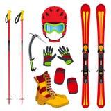 Capacete, luvas, esqui, botas, almofadas, picareta de gelo no estilo liso ilustração do vetor
