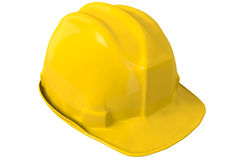 Capacete ou capacete de segurança amarelo de segurança no fundo branco Imagem de Stock